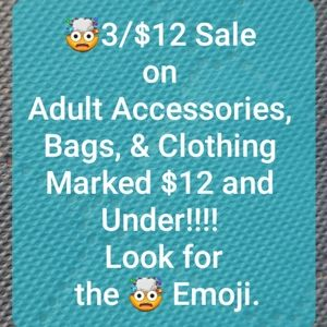 3/$12 Sale on Clothing & Accessories $12 & Below!